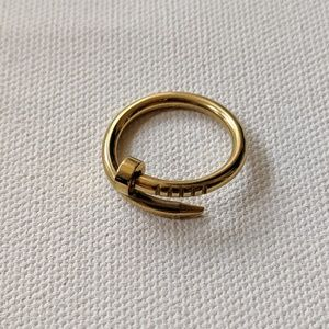 Brass wrapped nail ring